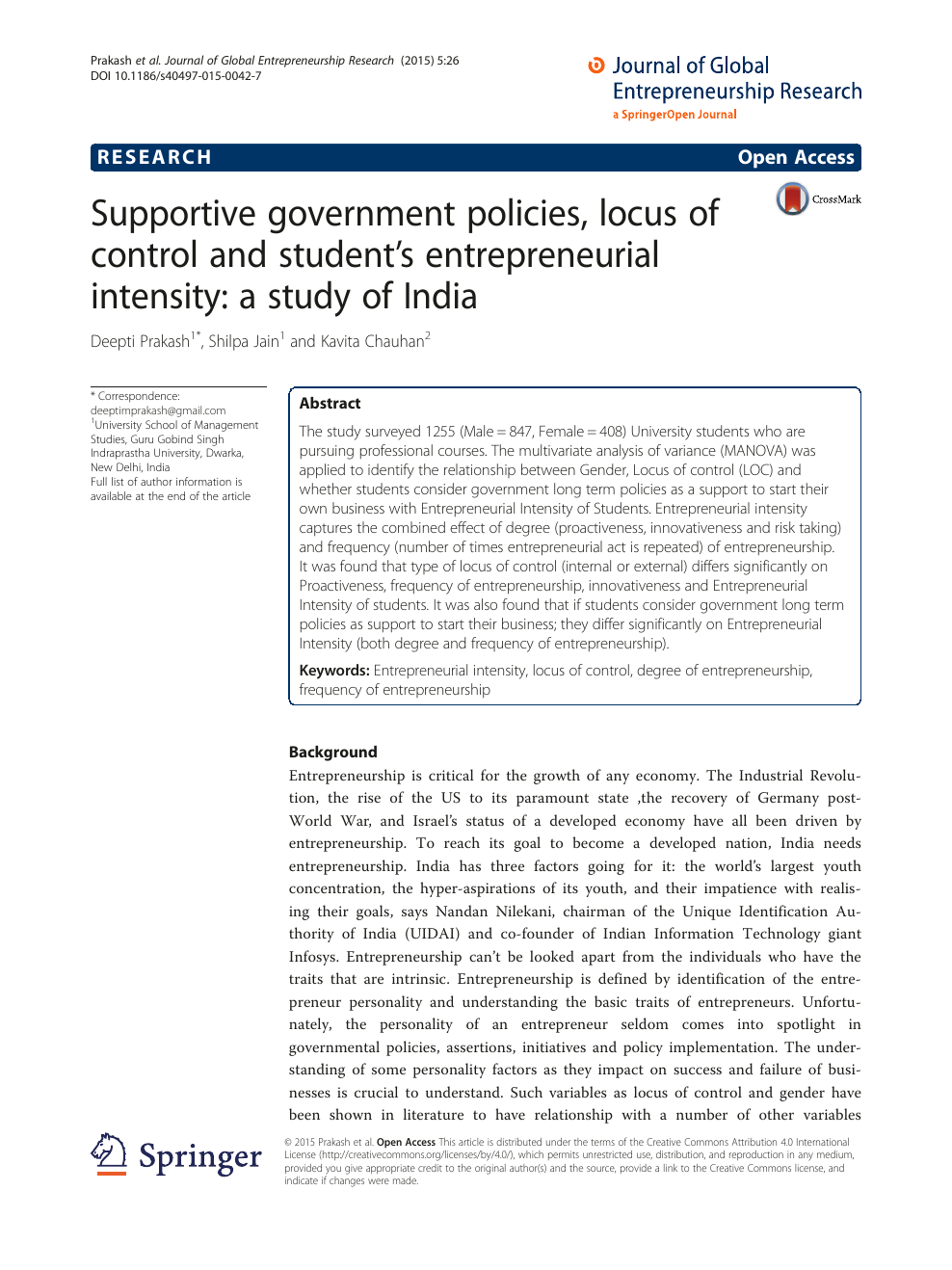 Supportive government policies, locus of control and student's
