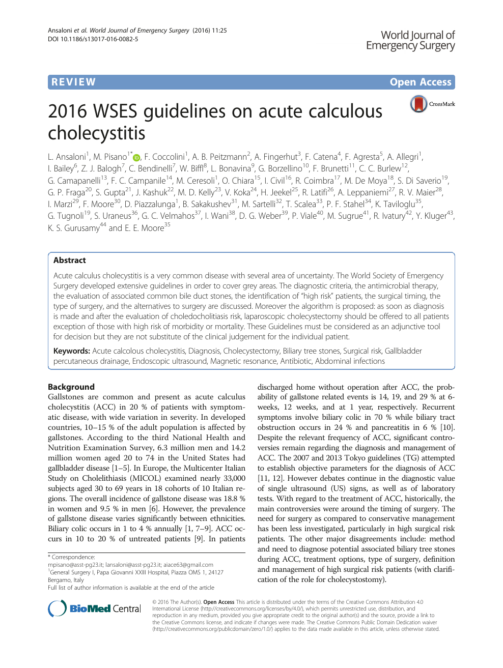 2016 WSES guidelines on acute calculous cholecystitis