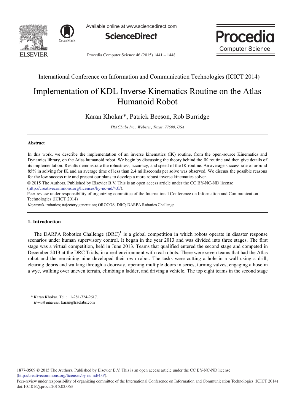 Implementation of KDL Inverse Kinematics Routine on the