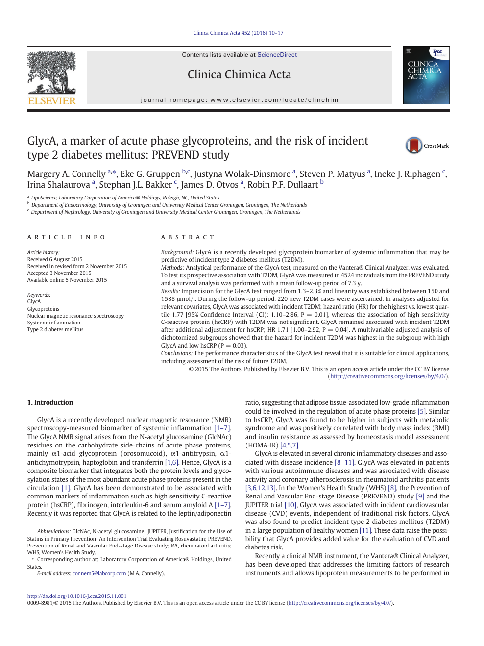 GlycA, a marker of acute phase glycoproteins, and the risk of
