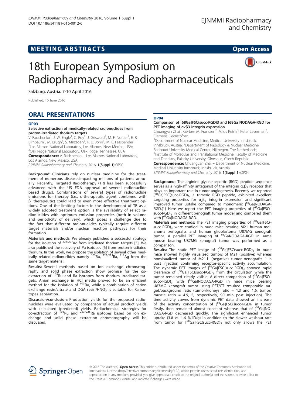 18th European Symposium on Radiopharmacy and
