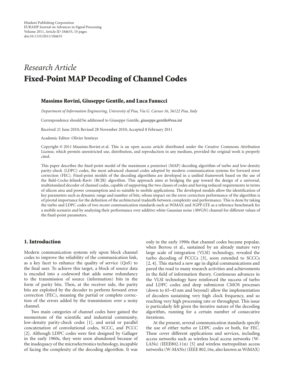 Fixed-Point MAP Decoding of Channel Codes – topic of research paper