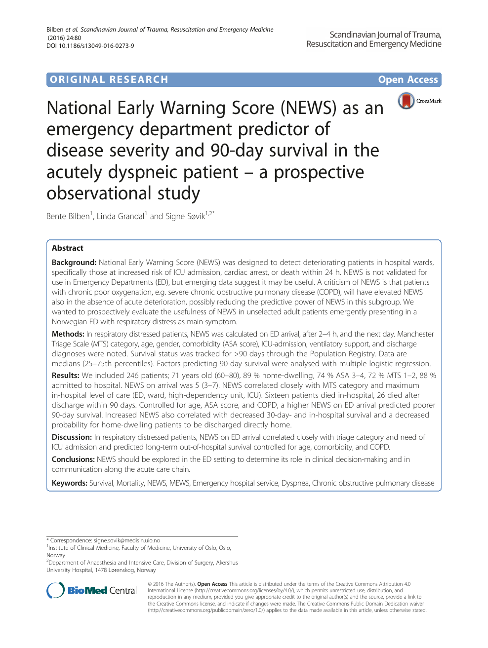 National Early Warning Score (NEWS) as an emergency department