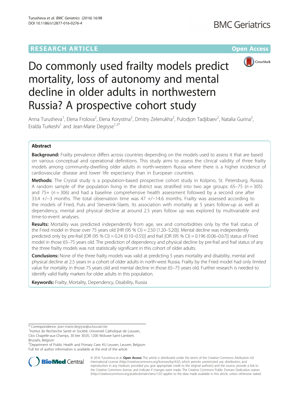 Do commonly used frailty models predict mortality, loss of