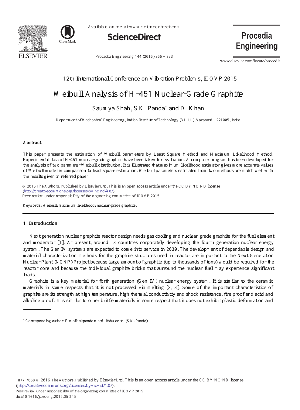 Weibull Analysis of H-451 Nuclear-Grade Graphite – topic of