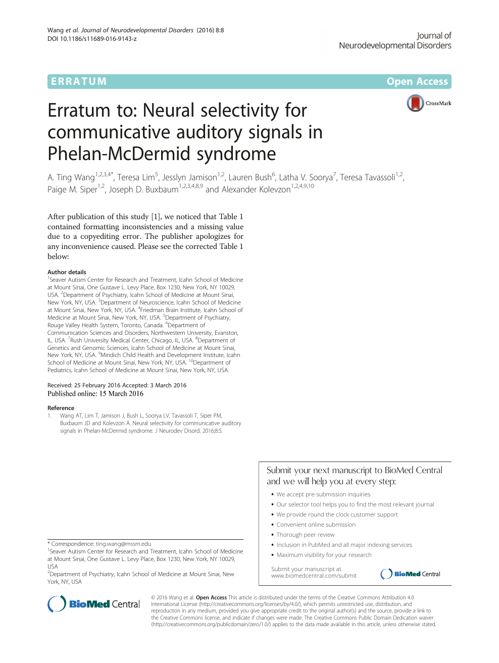 Erratum to: Neural selectivity for communicative auditory