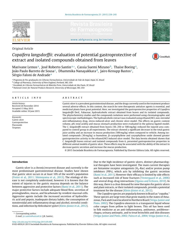 Copaifera langsdorffii: evaluation of potential