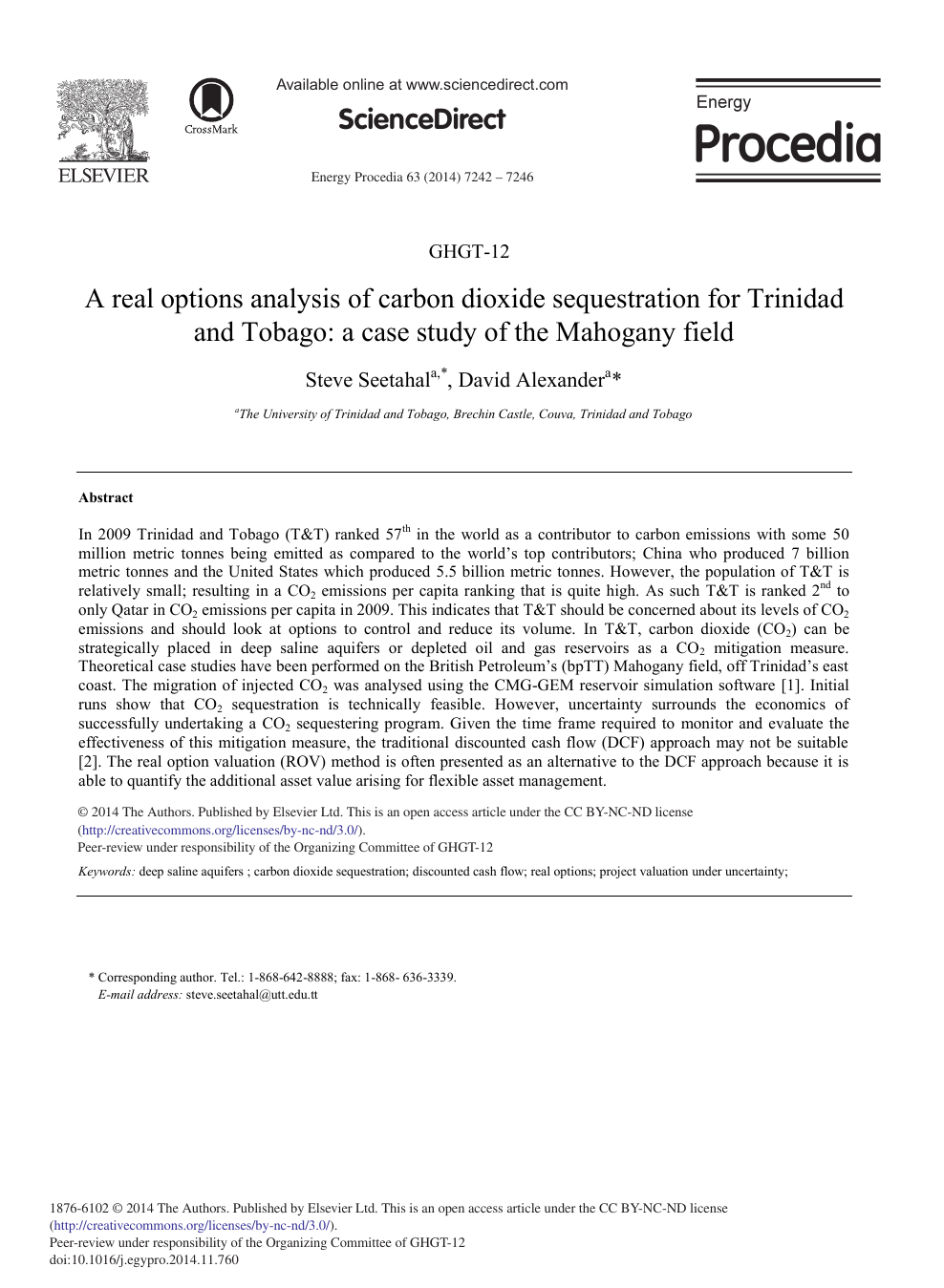 A Real Options Analysis of Carbon Dioxide Sequestration for Trinidad