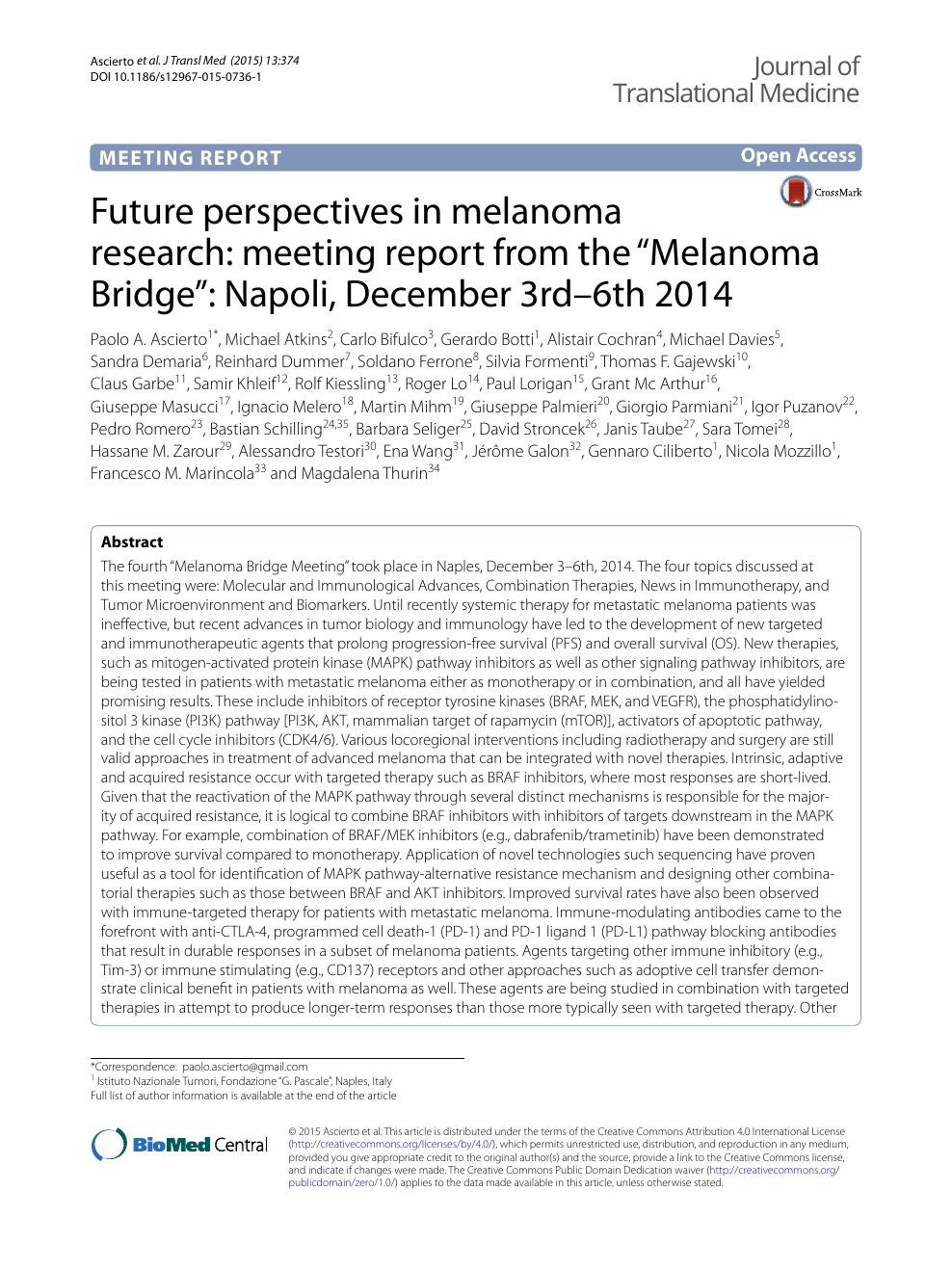 Future perspectives in melanoma research: meeting report from the