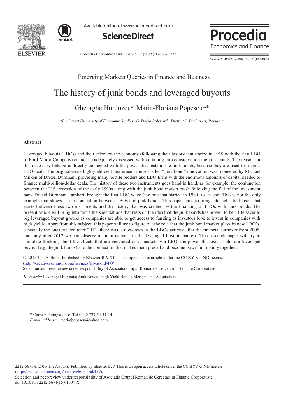 The History of Junk Bonds and Leveraged Buyouts – topic of research
