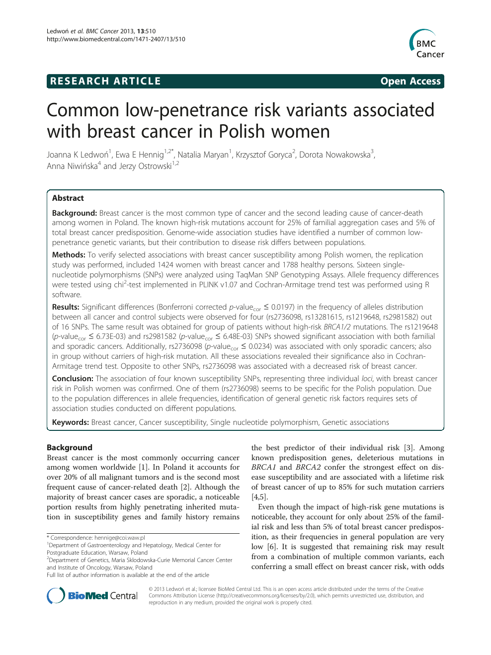Common low-penetrance risk variants associated with breast cancer in