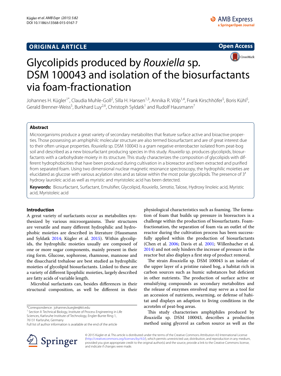 Glycolipids produced by Rouxiella sp  DSM 100043 and isolation of
