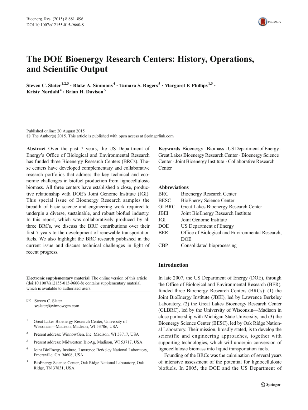 The DOE Bioenergy Research Centers: History, Operations, and