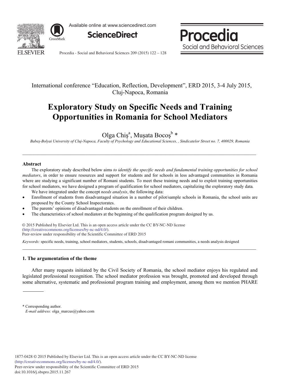 Exploratory Study On Specific Needs And Training