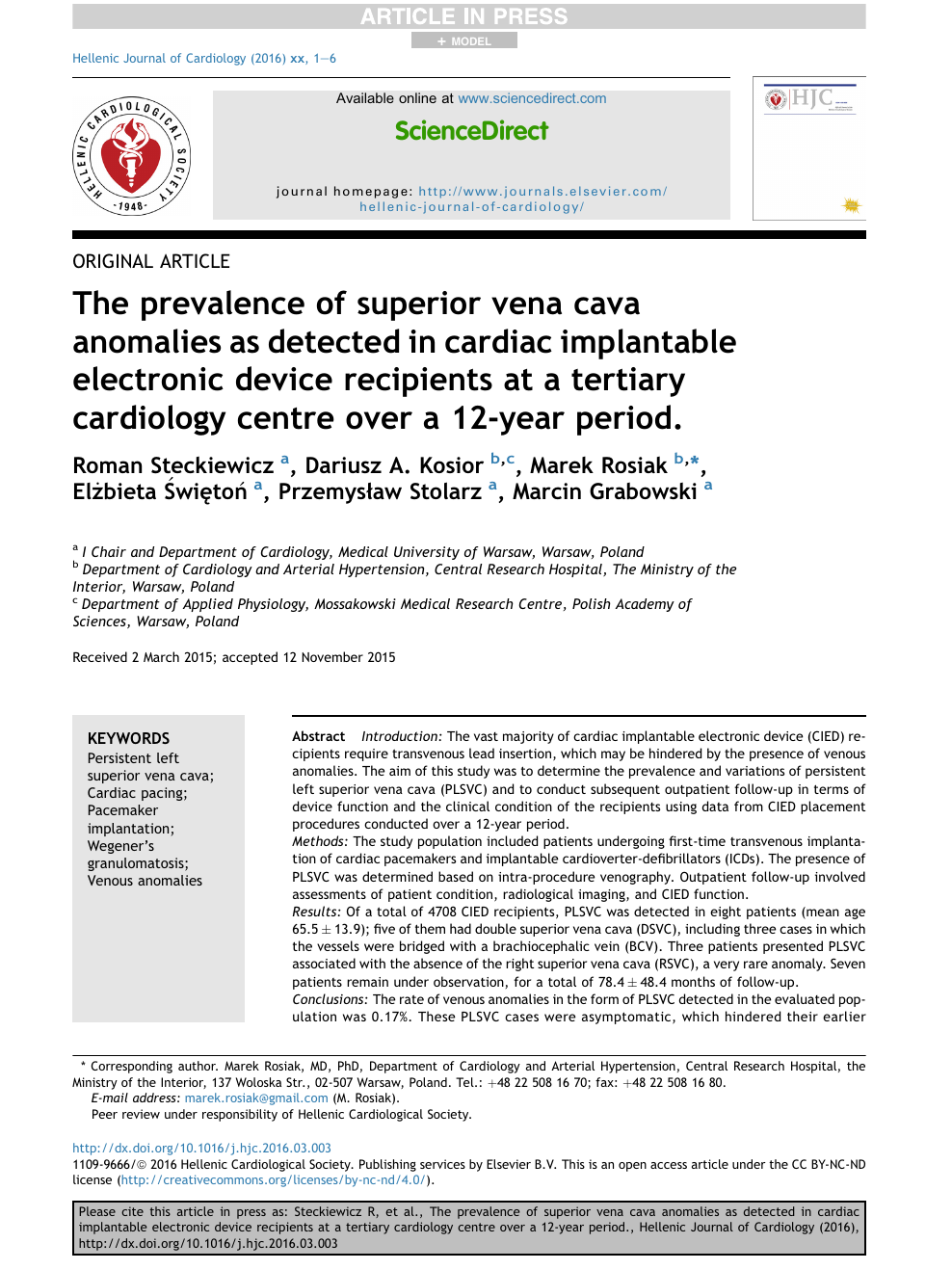 The prevalence of superior vena cava anomalies as detected