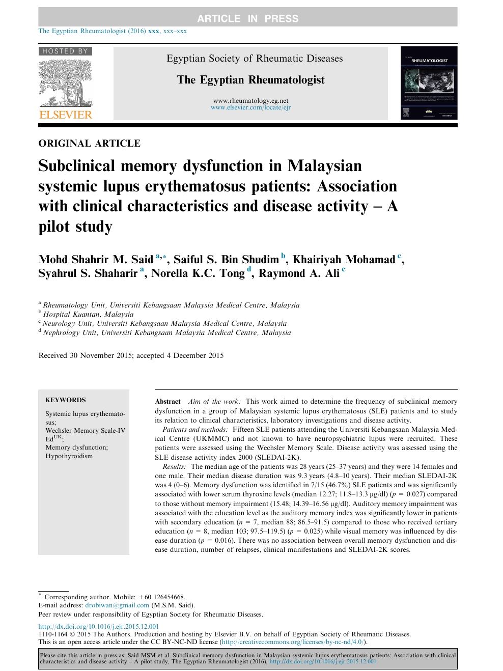 Subclinical memory dysfunction in Malaysian systemic lupus