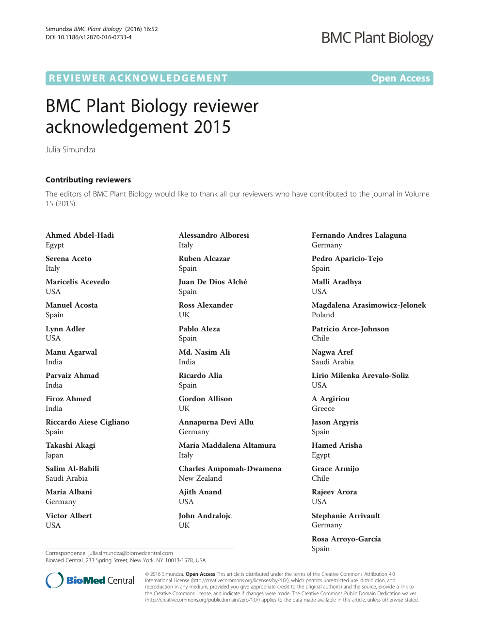 BMC Plant Biology reviewer acknowledgement 2015 – topic of
