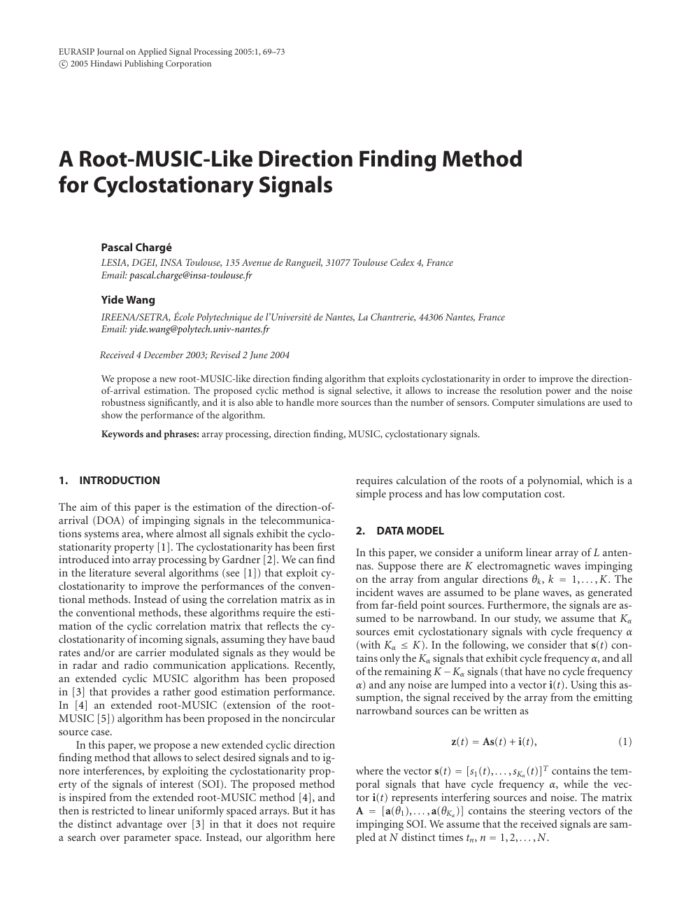 A Root-MUSIC-Like Direction Finding Method for Cyclostationary