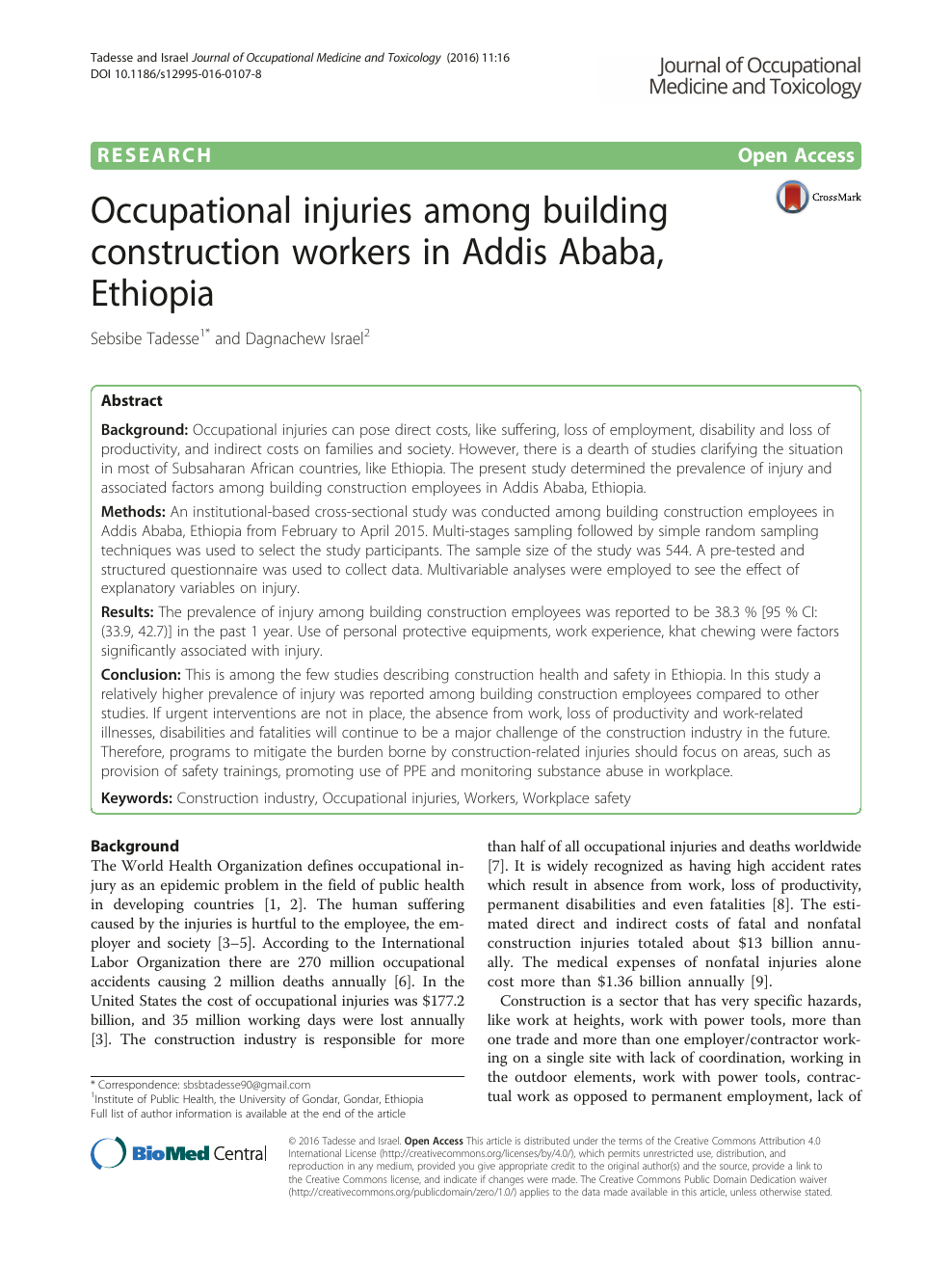 Occupational injuries among building construction workers in