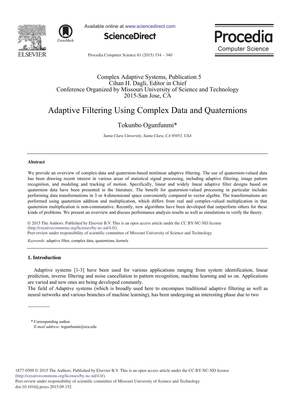 Adaptive Filtering Using Complex Data and Quaternions