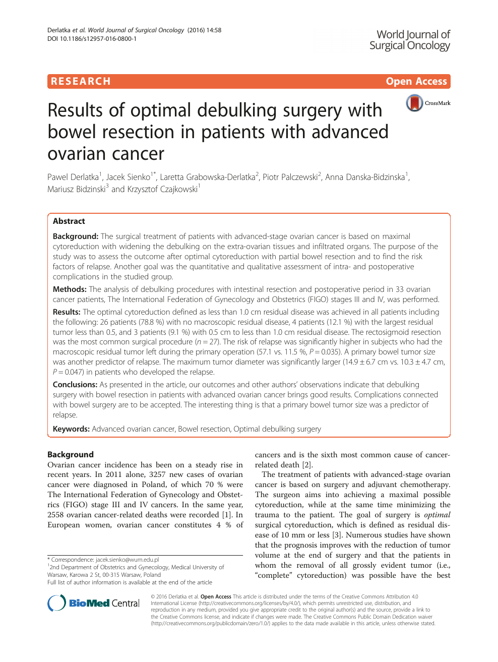 Results Of Optimal Debulking Surgery With Bowel Resection In Patients With Advanced Ovarian Cancer Topic Of Research Paper In Clinical Medicine Download Scholarly Article Pdf And Read For Free On Cyberleninka