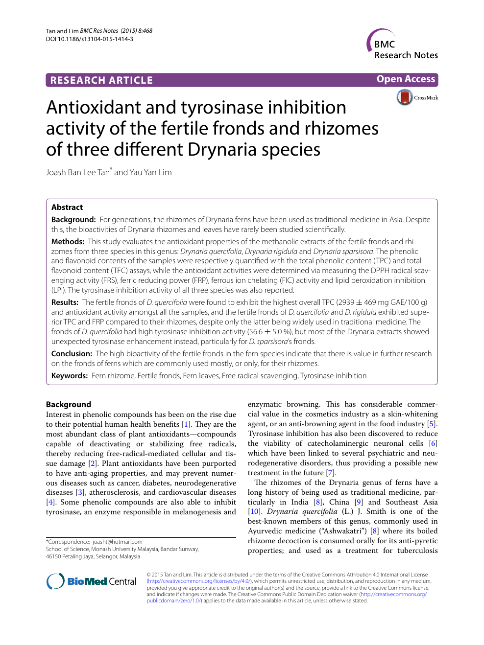 Antioxidant and tyrosinase inhibition activity of the fertile fronds