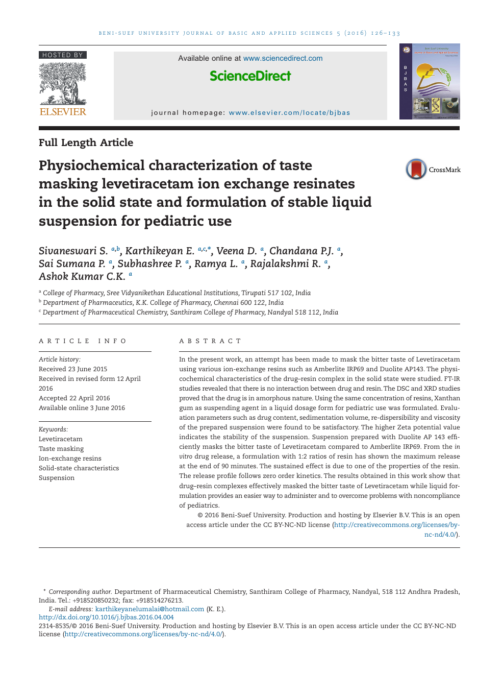 Physiochemical characterization of taste masking