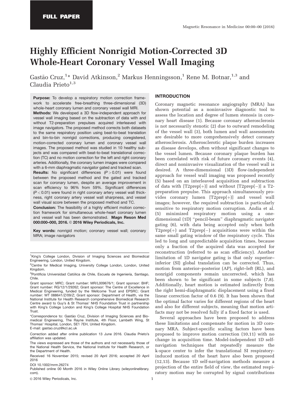 Highly efficient nonrigid motion-corrected 3D whole-heart
