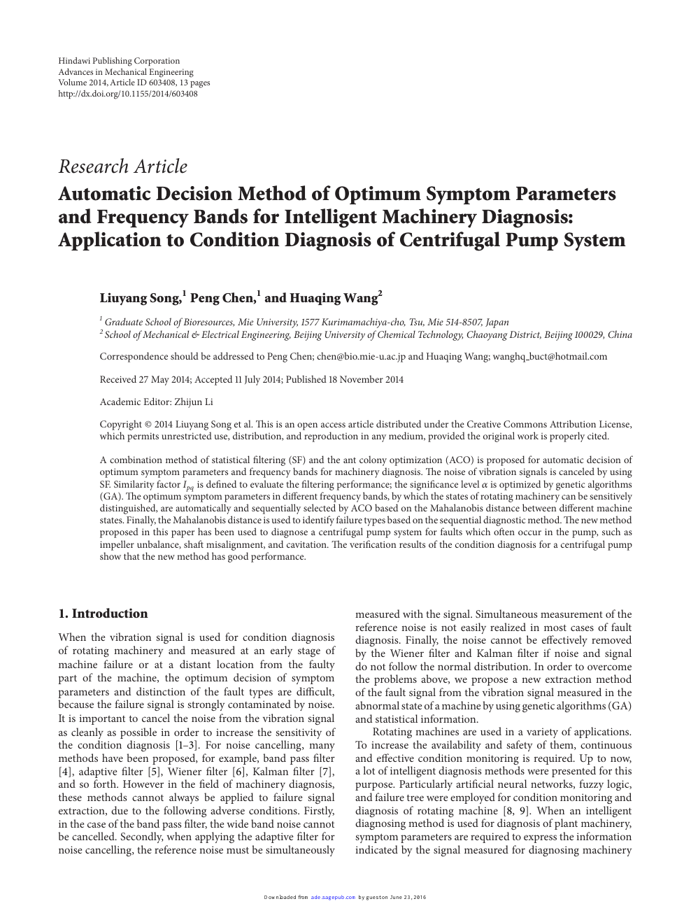 Automatic Decision Method of Optimum Symptom Parameters and