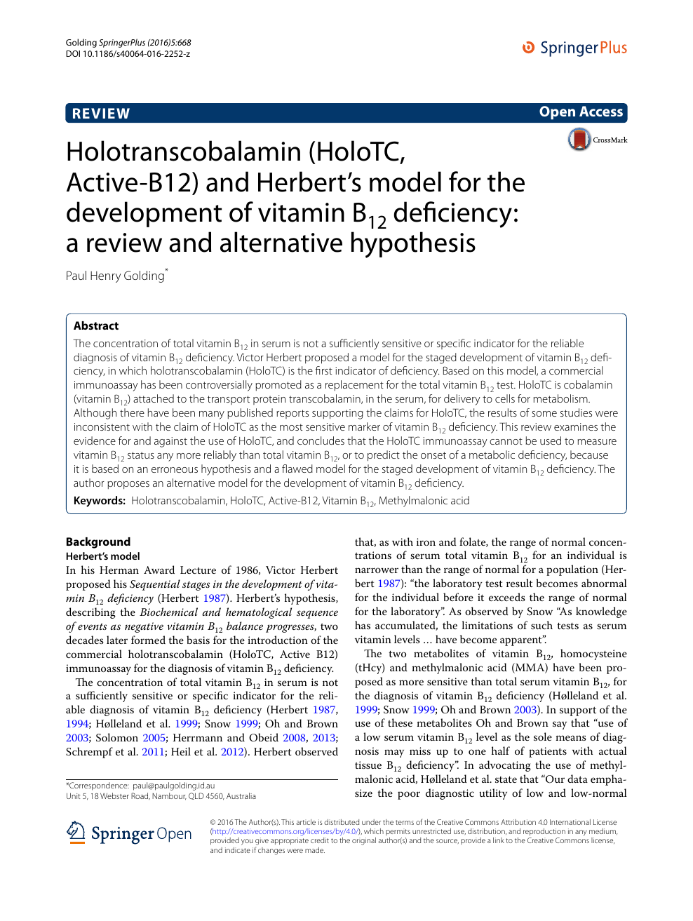 Holotranscobalamin (HoloTC, Active-B12) and Herbert's model for the