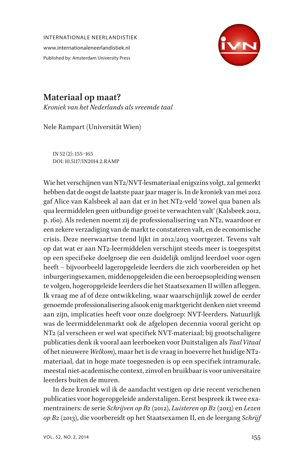 Materiaal op maat   Kroniek van het Nederlands als vreemde taal ...