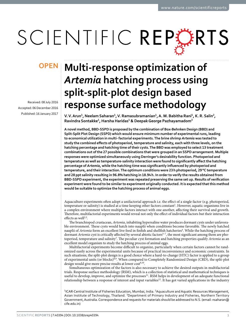 Multi-response optimization of Artemia hatching process