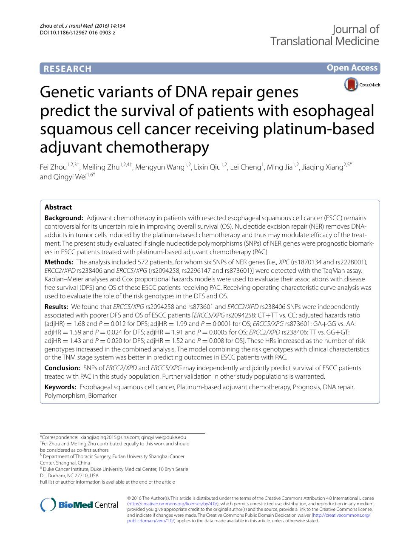 Genetic variants of DNA repair genes predict the survival of