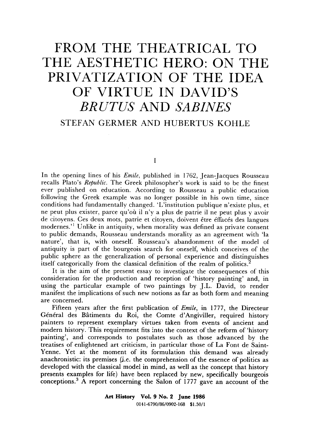 From The Theatrical To The Aesthetic Hero On The Privatization Of
