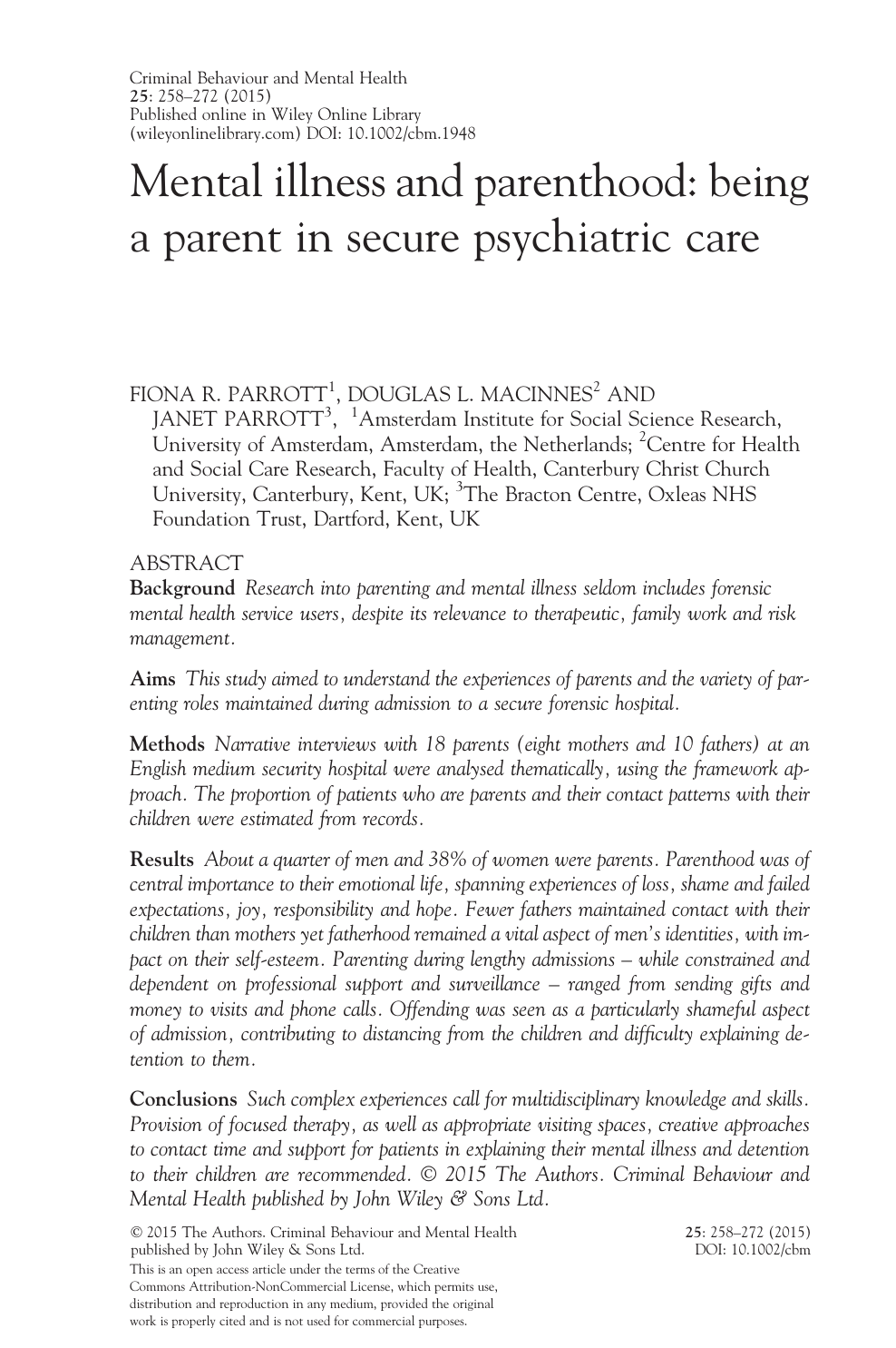 Mental illness and parenthood: being a parent in secure