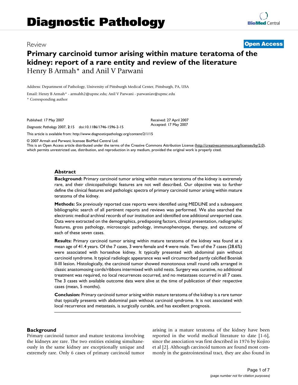 Primary carcinoid tumor arising within mature teratoma of