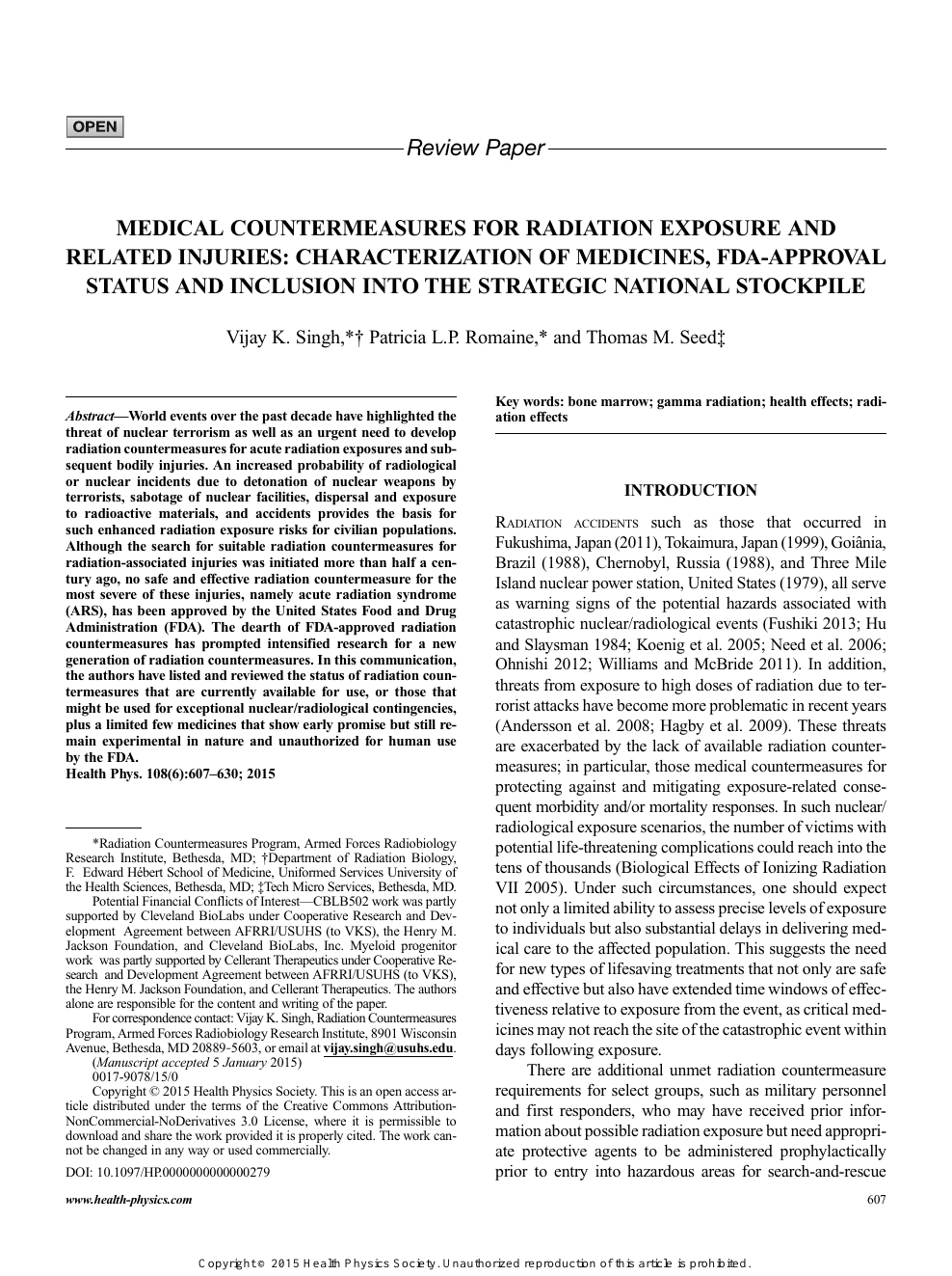 Medical Countermeasures for Radiation Exposure and Related