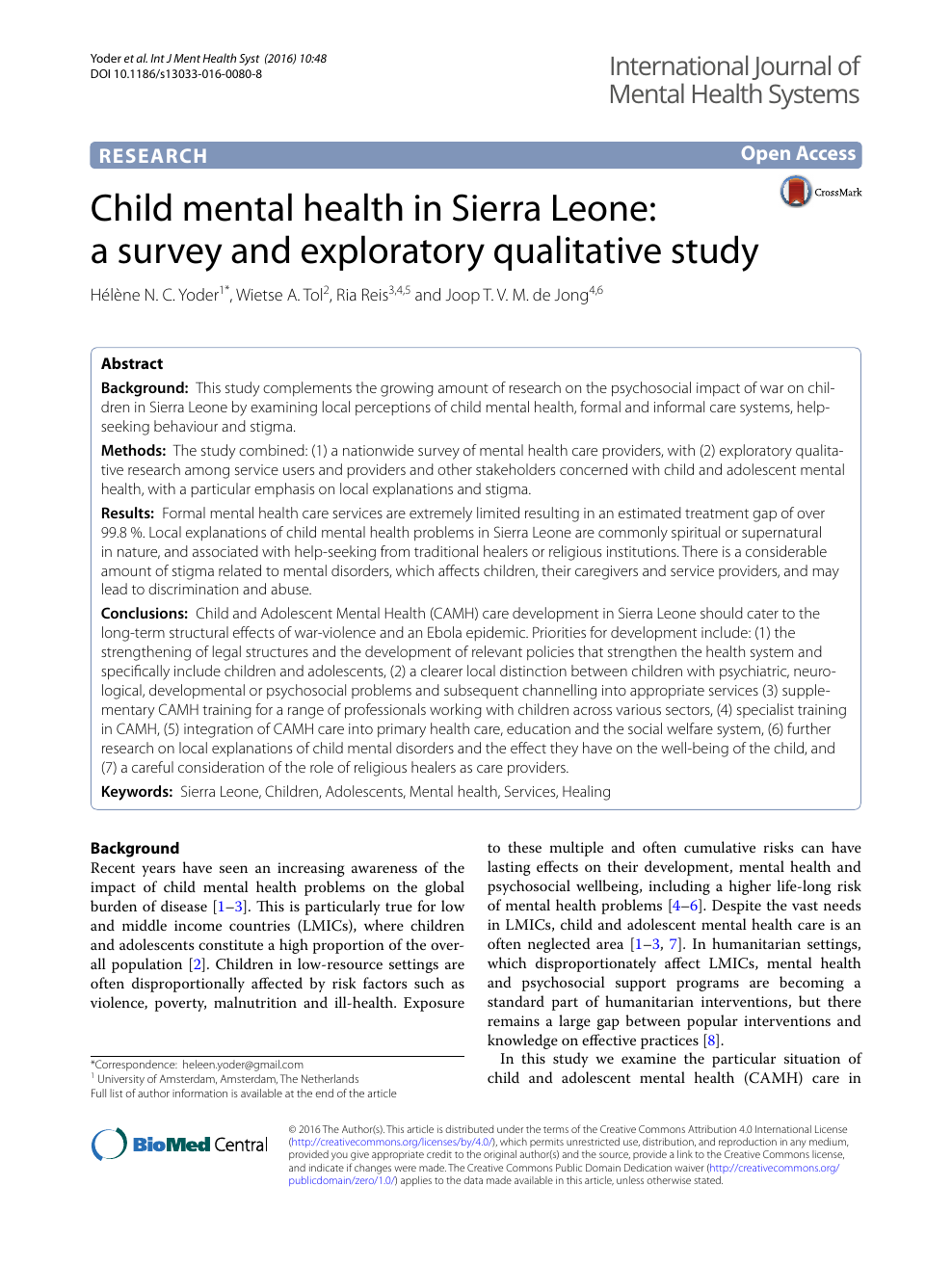 Child mental health in Sierra Leone: a survey and