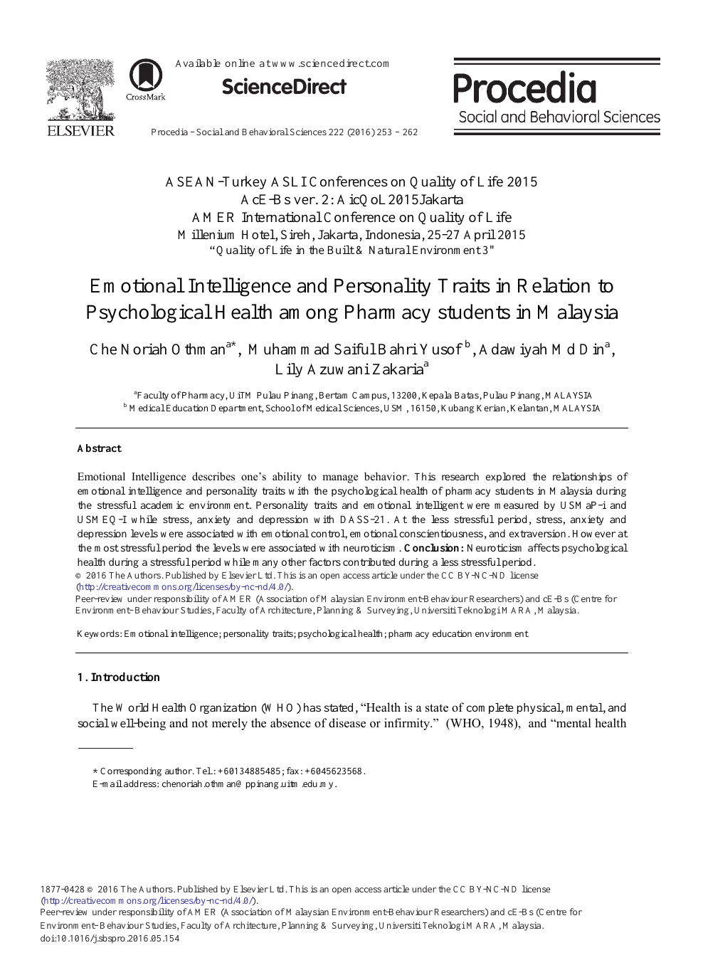 Emotional Intelligence and Personality Traits in Relation to