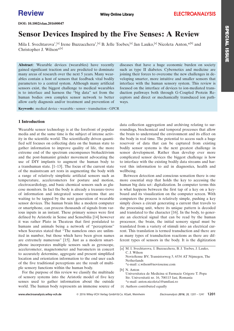 Sensor Devices Inspired by the Five Senses: A Review – topic