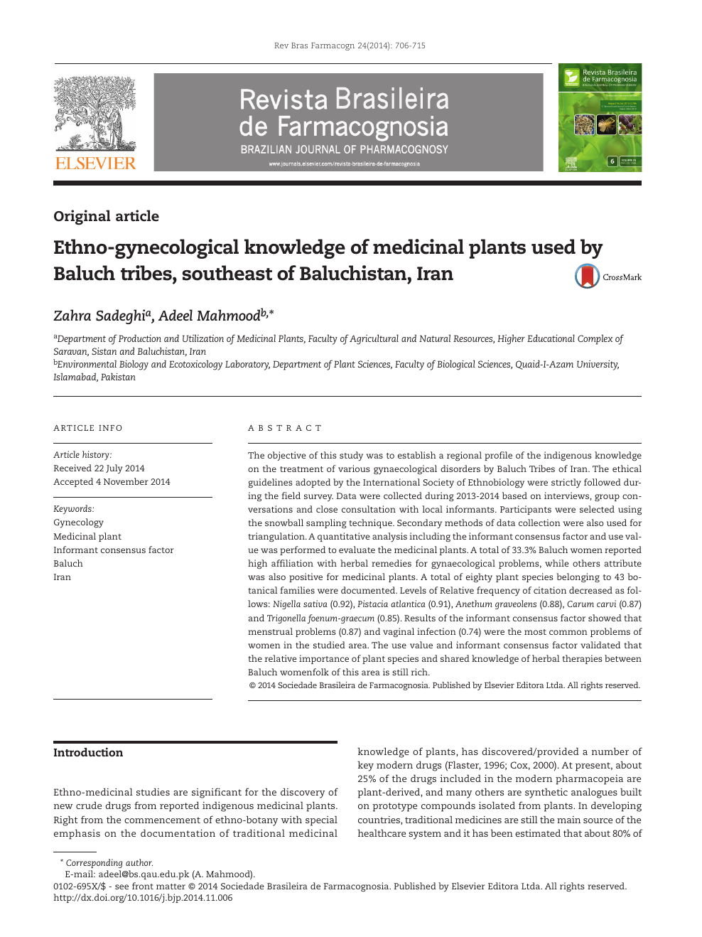 Ethno-gynecological knowledge of medicinal plants used by Baluch