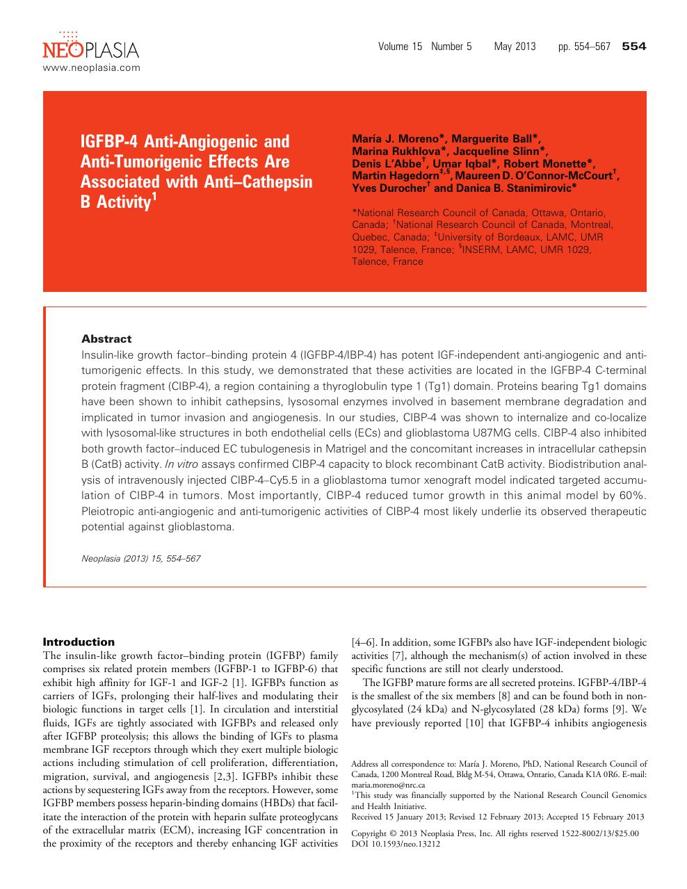 IGFBP-4 Anti-Angiogenic and Anti-Tumorigenic Effects Are