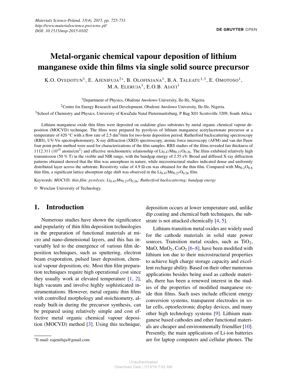 Metal-organic chemical vapour deposition of lithium