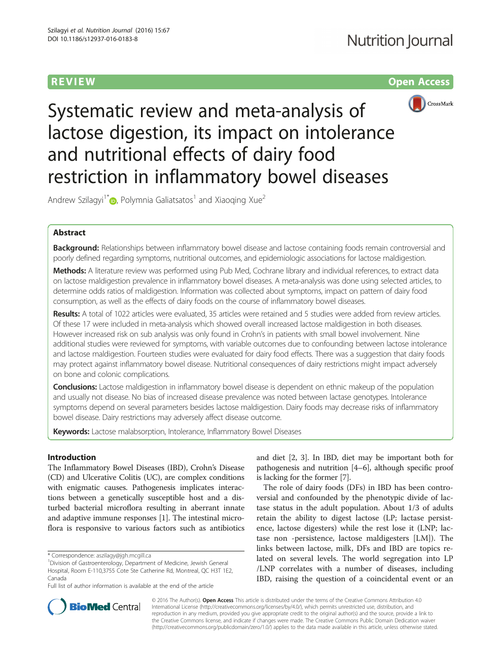 Systematic review and meta-analysis of lactose digestion