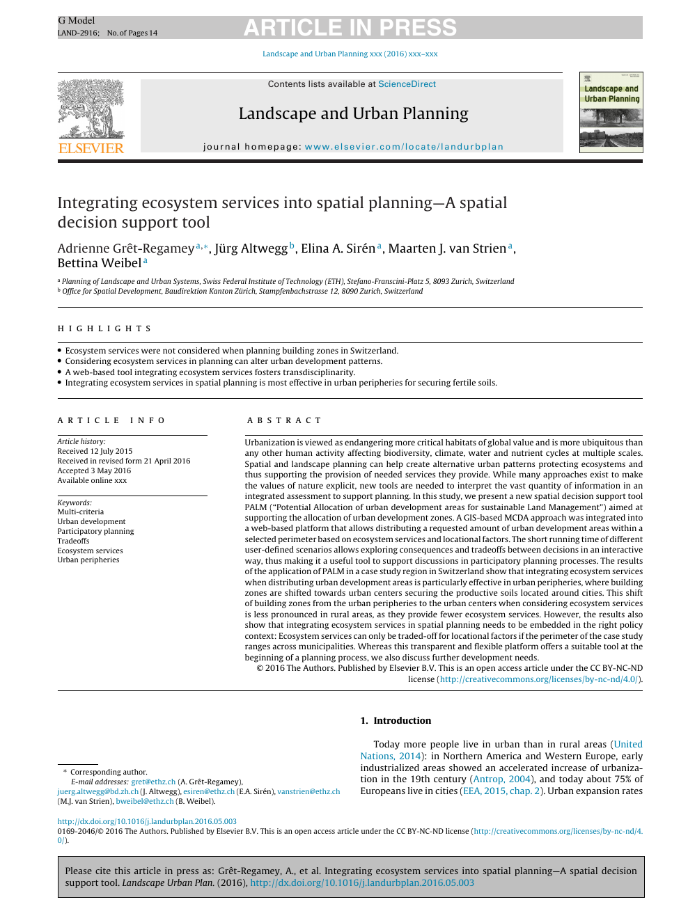 Integrating ecosystem services into spatial planning—A