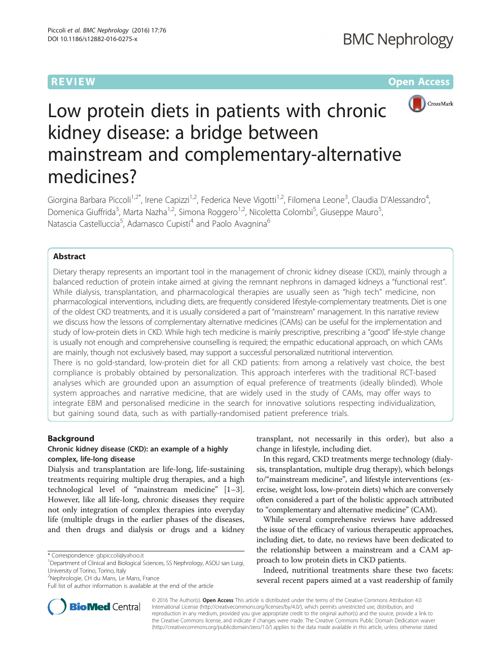 Low protein diets in patients with chronic kidney disease: a