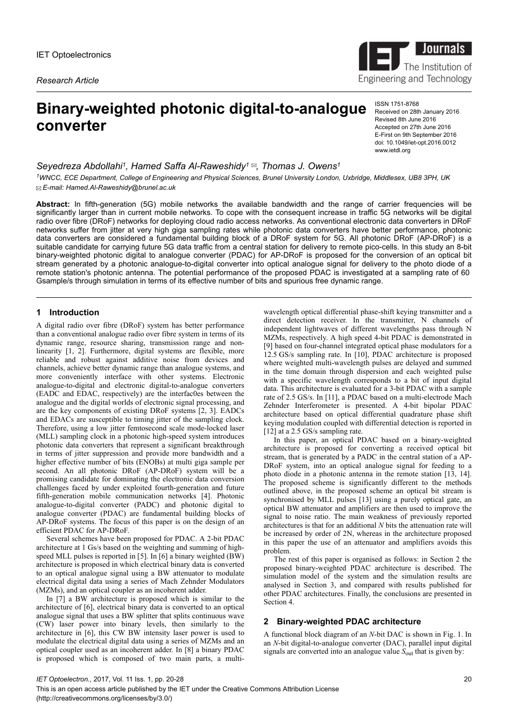 Binary-weighted photonic digital-to-analogue converter