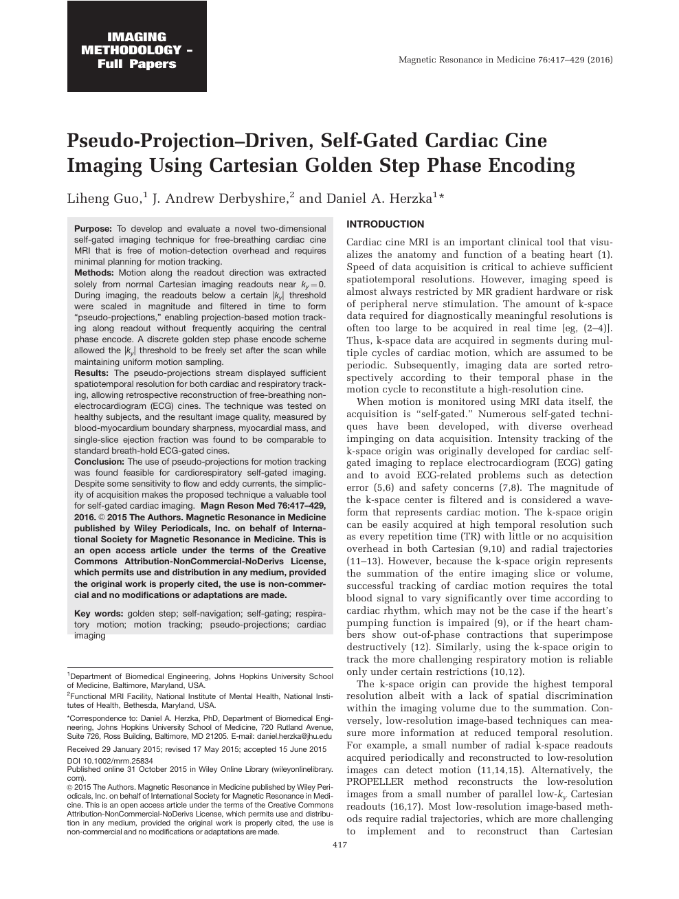 Pseudo-projection-driven, self-gated cardiac cine imaging using