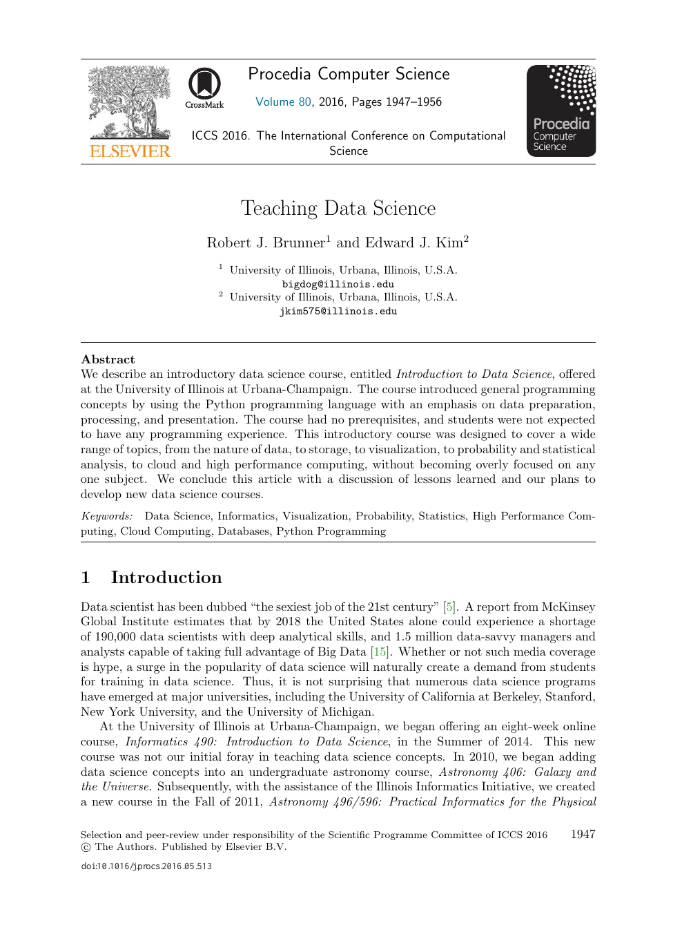 Teaching Data Science – topic of research paper in Educational