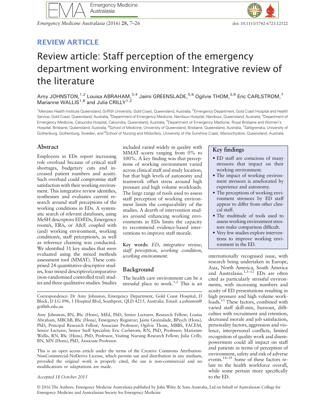Review article: Staff perception of the emergency department
